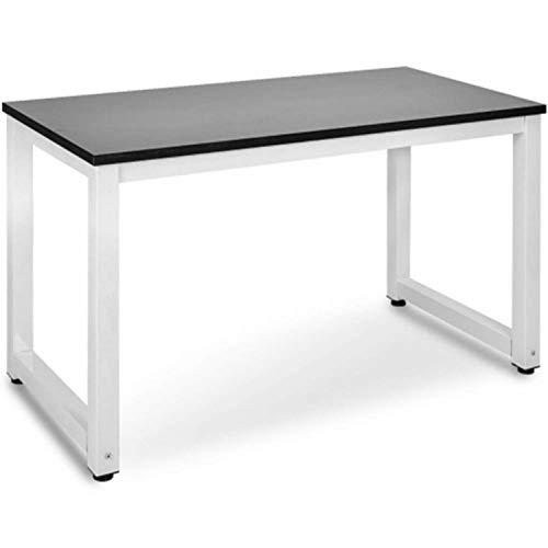 Escritorio de ordenador - Escritorio de PC Mesa de Oficina Mesa de Trabajo Mesa de Oficina para Hogar Oficina Dormitorio Montaje sencillo Vintage Estructura de Metal (Negro + Blanco)