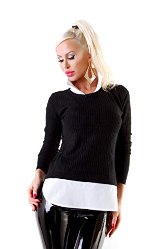 OSAB-Fashion 10720 Damen Feinstrick Pullover 2-in-1-Kombi Blusenpullover Langarm Zopfmuster