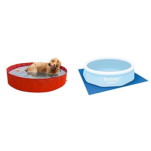 New Plast My Dog Pool Ø 180 Cm Piscina Per Cani, Colori Assortiti, 35.5X15X5.5 Cm & Bestway 58001 Tappetino Base 335 X 335 Cm, Per Le Piscine Fuori Terra Fino A Ø 305 Cm, Blu
