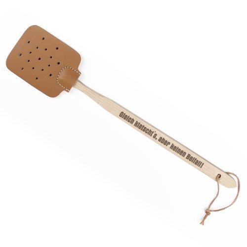 Cera & Toys® Fliegenklatsche Leder mit Holzgriff mit Spruch - Gleich Klatscht\'s