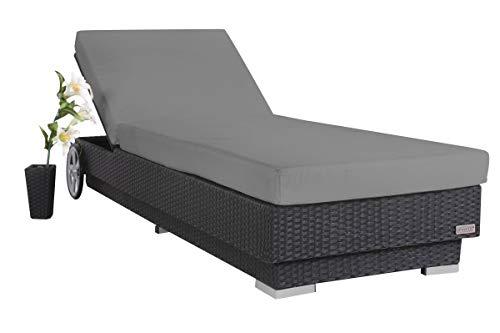 OUTFLEXX stilvolle Sonnenliege mit Rollen aus hochwertigem Polyrattan in schwarz, ca. 200x80x27,5 cm, inkl. Polster, Rückenlehne 4-stufig verstellbar, funktionale Gartenliege, komfortabel wetterfest