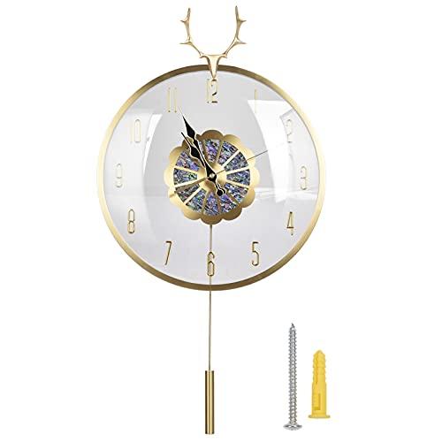 Reloj de pared grande Decroative, reloj de pared de cobre con cabeza de ciervo, reloj de pared de péndulo silencioso con pilas, para sala de estar, oficina, decoración interior del hogar, 16,5 x 13,4