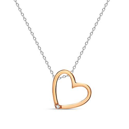 Miore - Collana in oro giallo 375 da 9 kt con cuore in oro giallo 375 e oro rosa, con ciondolo a forma di cuore, lunghezza 42 cm e Due ori, cod. M9180N