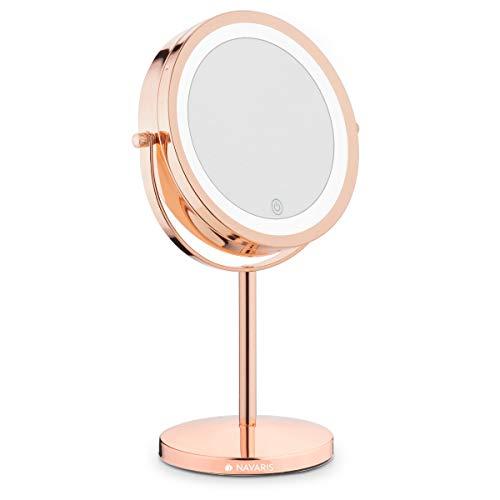 Navaris Kosmetikspiegel mit LED Beleuchtung - Spiegel mit 5fach Vergrößerung Make Up Standspiegel - Schminkspiegel beleuchtet 360° dimmbar - Kupfer