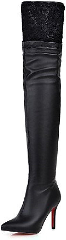XZZ  Damenschuhe - Stiefel - Kleid - Kunstleder - Stckelabsatz - Spitzschuh   Modische Stiefel - Schwarz   Wei