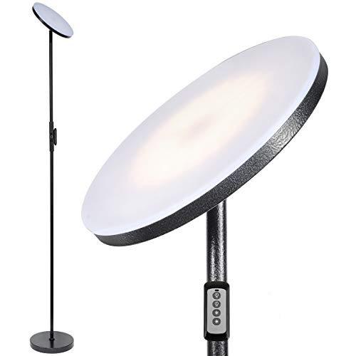 Joofo Floor Lamp,Sky LED Modern Torchiere 3 Color Temperatures Super Bright Floor Lamps-Tall Standing Pole Light with Remote & Touch Control for Living Room,Bed Room,Office ,Rocky Black