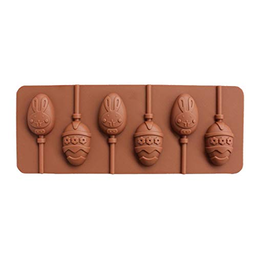 Shefii 6-Cavity DIY Rabbit Bunny Floral Easter Egg Shape 3D Silicone Lollipop Mold Candy Chocolate Gummy Fondant Mould Bakeware Baking Tools Tray