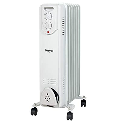 Kuyal Oil Filled Radiator Heater, 1500W Portable Space Heater with 3 Heat Settings, Adjustable thermostat, Overheat & Tip-Over Protection, Electric Heater for Home and Office, Light Gray