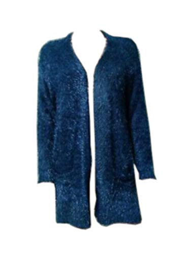 Chelsea + Theodore Womens Size Small Open Front Eyelash Cardigan, Blue Spruce
