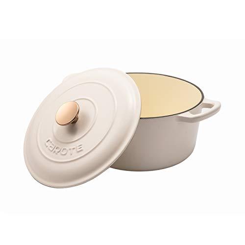 CAROTE® Gusseisen-Bräter/Cocotte mit Noppen (Picots)-Deckel, emailliert in 4 attraktiven Farben, Cream White Ø 26cm/4,5L backofenfest bis 300°C und für alle Herdarten geeignet (auch Induktion)