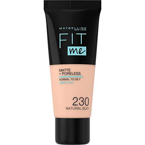 Maybelline Fit me! MATTE&PORELESS Make-up Nr. 230 Natural Buff, flüssiges Make-up, passt sich dem Hautton an, feuchtigkeitsspendend, mattierend, leichte bis mittlere Deckkraft, 30 ml
