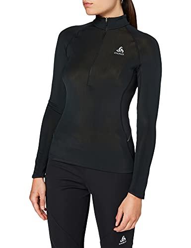 Odlo Midlayer 1/2 Zip ZEROWEIGHT Warm Shirt Femme, Black, FR : M (Taille Fabricant : M)