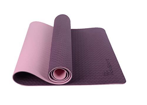 Fidusport Yogamatte aus TPE inkl. Tragegurt rutschfest für Fitness Pilates & Gymnastik Matte 183cmx61cmx0,6cm (Lila)