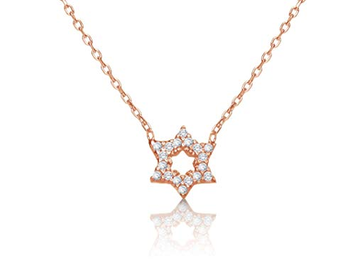 Small Jewish Star of David Necklace in 14k Rose Gold Vermeil with Clear...