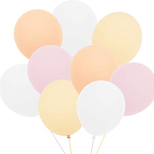 Anokay Luftballons rosa weiß Champagne Aprikose Hochzeitsdeko Vintage für Helium Balloon geeignet - Ballon als Hochzeit Geburtstag Babyshower Girl Party Deko Luftballon - 100 STK Ballons in 4 Farben