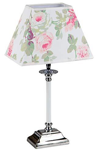 Formano Tisch-Lampe mit Stoffschirm Blumenmotiv Rosenmotiv Tischleuchte Nachttischlampe Nachttischleuchte Stimmungslampe 48cm