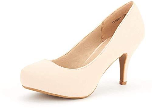 DREAM PAIRS Tiffany Women's New Classic Elegant Versatile Low Stiletto Heel Dress Platform Pumps Shoes Nude Size 9.5