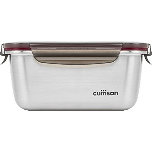 CANDL Cuitisan (Flora) contenitore ermetico per alimenti in acciaio inossidabile con coperchio con chiusura a clip, adatto a forno e microonde, EC7-SS06, rettangolare (18,4cm x 13,0cm x 8,3cm 980ml)