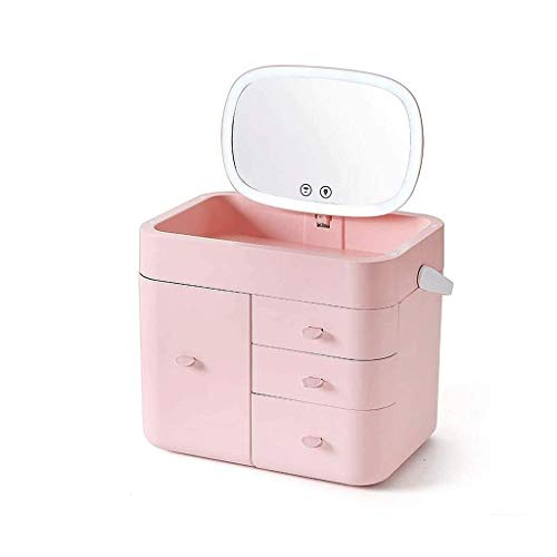 Makeup Case with Mirror Light Cosmetic Work Station Storage Luggage Travel Studio Extendable (Color : B)