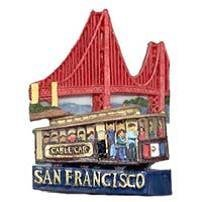 San Francisco Magnet 3D Cable Car Golden Gate Bridge Poly by City Coffee Mugs