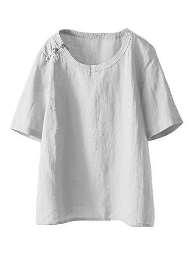 Mallimoda Damen Leinen Tunika Tops Sommer Kurzarm T-Shirt Große Größen Bluse Oberteile Weiß XXL