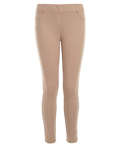 Nautica Girls' Big School Uniform Stretch Interlock Legging, Khaki, 7