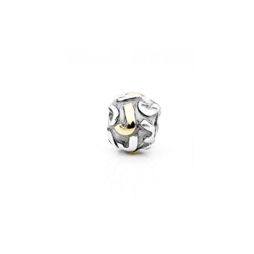 Akki Buchstabe Charms Beads für Armband Kette Angebot Perle Kompatibel mit Starter Alle Gold Silber Schmuck Letter Sternzeichen Liebe J