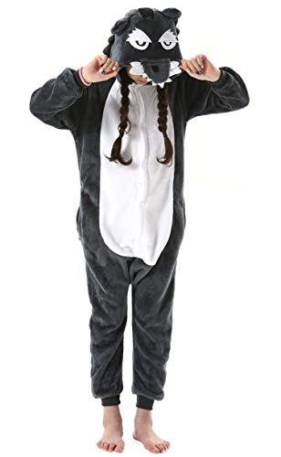 Pijama Animal Entero Unisex para Niños con Capucha Cosplay Pyjamas Ropa de Dormir Traje de Disfraz para Festival de Carnaval Halloween Navidad Gris Lobo para Altura 90-148cm