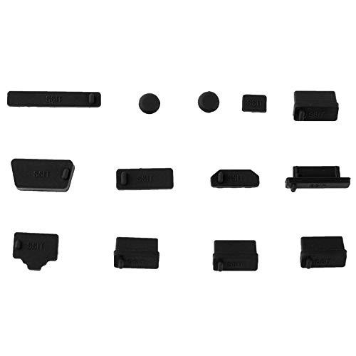 subtel Staubschutz Set Staubschutzkappen für Notebook und Computer Schnittstellen 13x Set, Silikon, schwarz   Stöpsel Kappen Staubstöpsel Schutzabdeckung für Anschlüsse Staubschutzabdeckung