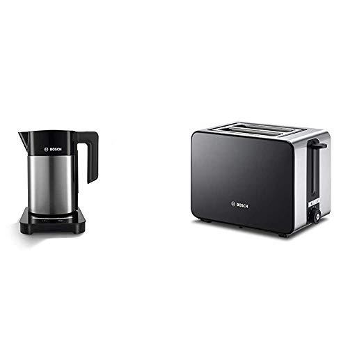 Bosch TWK7203 kabelloser Wasserkocher, Abschaltautomatik, 7 Temperatureinstellungen, 1,7 L, 2200 W, schwarz & TAT7203 Kompakt-Toaster, Auftau/Aufknusperfunktion, 1050 W, Edelstahl/schwarz