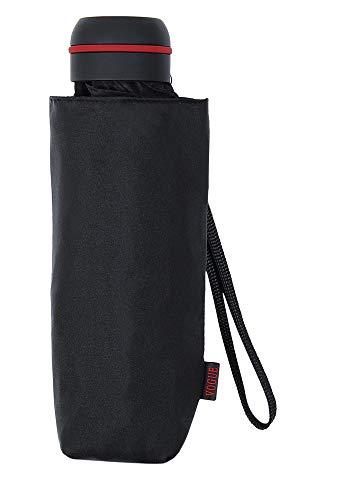 Paraguas Vogue Hombre, Paraguas Mini Fabricado con Varillas de Aluminio de Doble Resistencia. Mide 16,5 cm. Paraguas antiviento. (Negro)