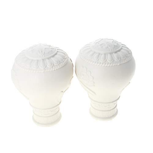 MroMax Endstücke für Gardinenstangen, Kunststoff, Vintage-Stil, für Gardinenstangen mit 28 mm Durchmesser, Weiß, 85 mm, 2 Stück