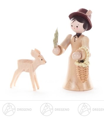 Miniatur Försterin mit Reh natur Höhe ca 6 cm NEU Erzgebirge Weihnachtsfigur Holzfigur