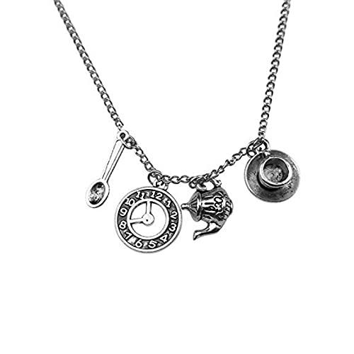 Europäische Und Amerikanische Art Attack Silver Tone Wonderland Teekanne Löffel Tea Time Clock Time Cup Untertasse Charm Anhänger Halskette