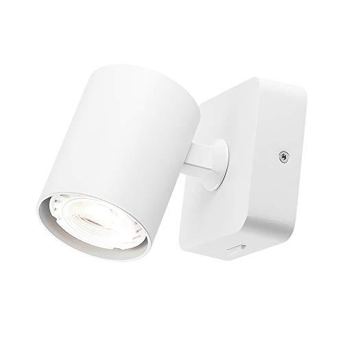 Meanyee Lámpara de pared con interruptor, ajustable, color blanco mate, GU10 1 x 6 W (incluida), 3000 K, MY-WN041