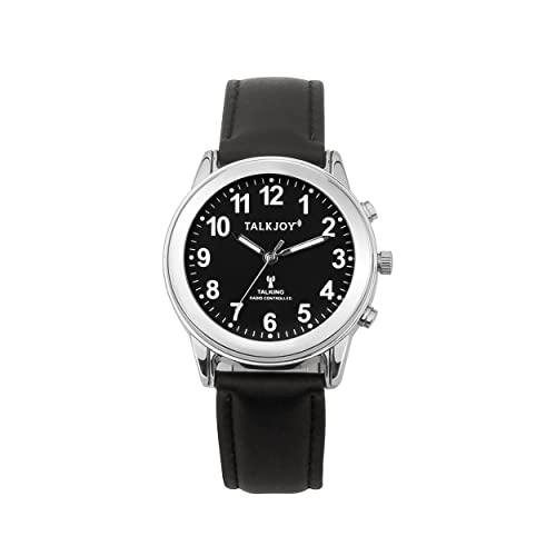 Reloj de pulsera para mujer con radio, dial negro, correa de piel, para personas mayores, reloj ciegas