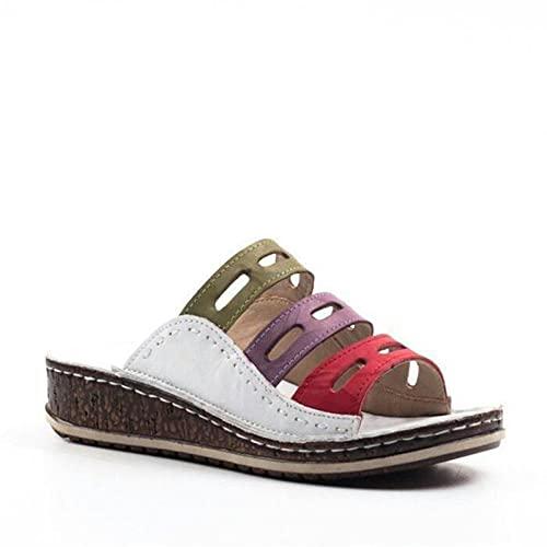 Sandalias con Tira al Tobillo,Zapatillas paralelas de Color de Gran tamaño, Pendiente de Fondo Grueso de Las Mujeres con Sandalias-Blanco_43,Sandles Antideslizante