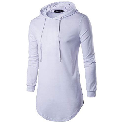 Kapuzenpullover Herren Neue Männer Nner Langarm T Mode High Shirt End Street 20er Jahre Hood Kapuzen Kapuzenshirt Herbst (Color : Weiß, Size : L)
