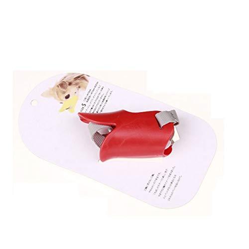 Bozal de Boca de Perro pequeño y Grande Transpirable Ajustable Anti ladrido Mordedura Producto masticable Rojo M
