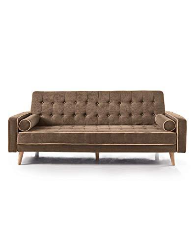 Home Heavenly - Sofá Cama Oslo, Elegante sofá Clic clac 3 plazas tapizado en Color Gris, marrón (Marrón)