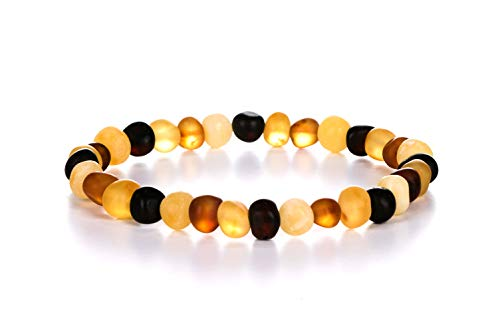 AMBERAGE Natural Baltic Amber Bracelet for Adults (Women/Men) - Hand Made from Raw-Unpolished/Certified Baltic Amber Beads(6 Colors) (7, Raw-Unpolished Multi)