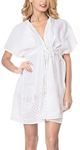 LA LEELA Brodé Dress Maillot de Bain Cover Up Femme Tunique Robe de Plage d'été Bikini...