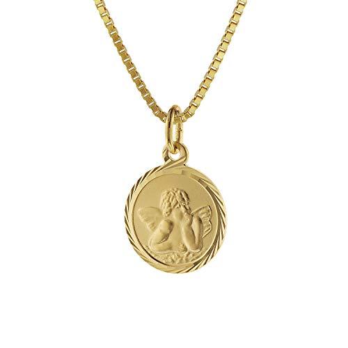 trendor Kinder Schutzengel Anhänger Gold 585 mit goldplattierter Kette 75214-42 42 cm