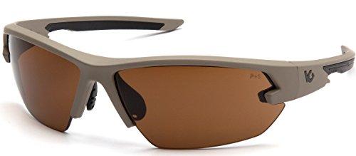 Venture Gear VGST1418T Tactical Semtex 2.0 Safety Shooting Glasses, Tan Frame, Bronze Anti-Fog Lens