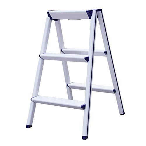 Mr.T/Klappstuhl 2 Schritt Hocker Faltbare Stufenleiter Hocker Multifunktions tragbarer Leiter, Aluminiumlegierung (Farbe: orange) Multifunktionaler Trittleiter (Color : White)