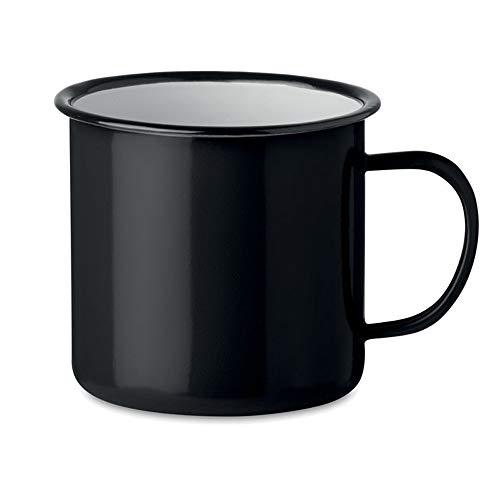 noTrash2003 Kaffeetasse Becher Mug Coffee Trinkbecher Emaille-Becher Vintage Look je 350 ml versch. Farben und Mengen (Schwarz, Einzeln)
