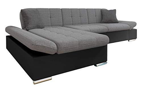 Mirjan24 Ecksofa Malwi mit Regulierbare Armlehnen Design Eckcouch mit Schlaffunktion und Bettkasten, L-Form Sofa vom Hersteller, Couch Wohnlandschaft (Soft 011 + Lux 05 + Lux 06, Ecksofa: Links)