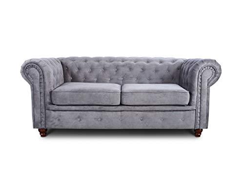 Sofa Chesterfield Asti 2-Sitzer, Couchgarnitur 2-er, Sofagarnitur, Couch mit Holzfüße, Polstersofa - Glamour Design (Grau (Capri 09))