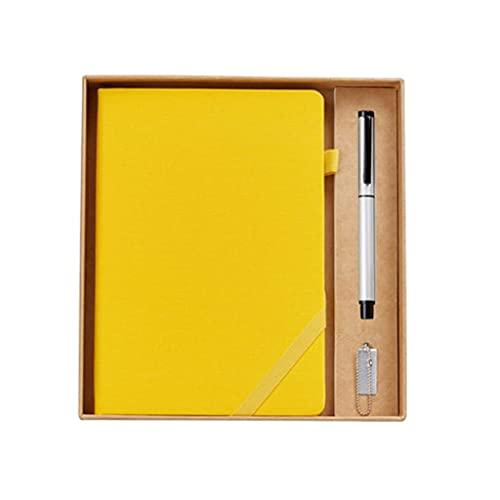 Guomipai Cuaderno retro de viaje grueso diario simple portátil multifuncional reuniones trabajo cuaderno libro libro libro de papelería caja de regalo (color amarilla+bolígrafo+unidad flash USB)