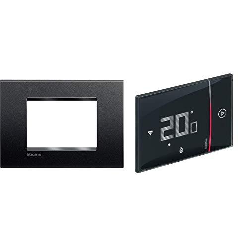 BTicino Livinglight Placca 3 Moduli, Forma Rettangolare, Antracite, 1 Pezzo + Termostato WiFi intelligente Smarther2 with Netatmo SXG8002, Incasso, Nero
